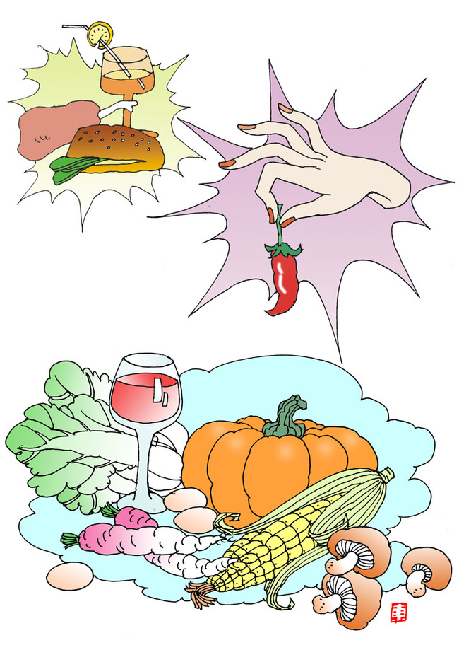 平面设计 其他 插画|元素|卡通 > 线描插图汉堡面包鸡腿蔬菜水果003