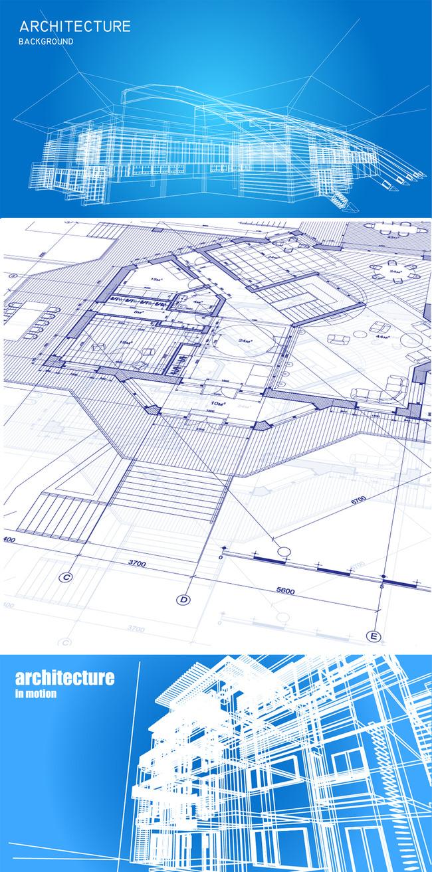 蓝色商务建筑结构图