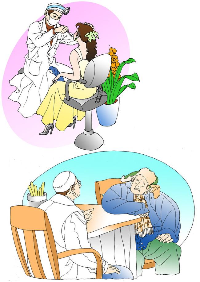 平面设计 其他 插画 元素 卡通 > 线描人物插图背景牙科医生图美女