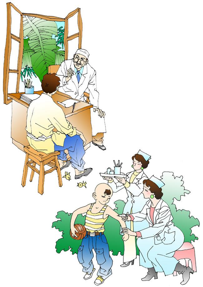 平面设计 其他 插画|元素|卡通 > 线描人物插图背景医生护士与病人013