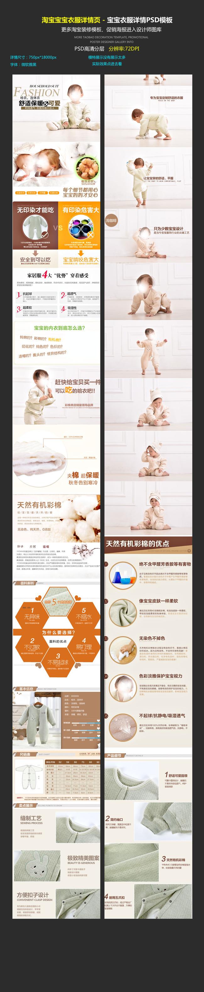 聚视觉淘宝天猫宝宝衣服详情描述页模板