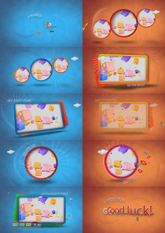幼儿园毕业典礼视频开场片头模板下载(图片编号:)