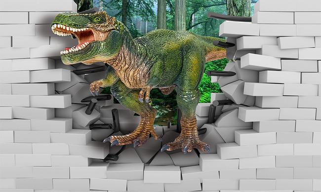 3d恐龙动物世界森林3d电视背景墙