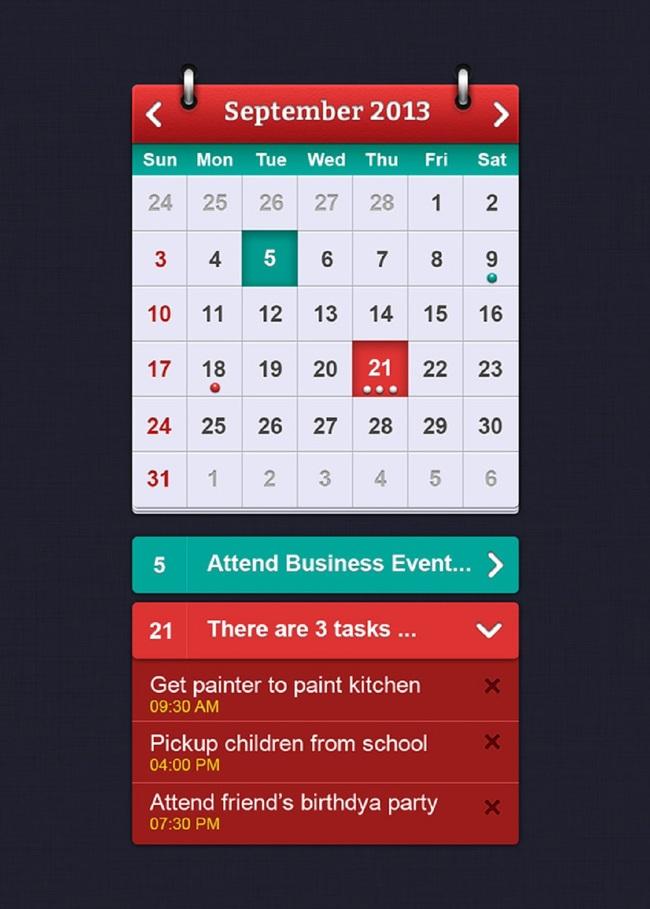 安卓手机app日历红色psd素材下载模板下载(图
