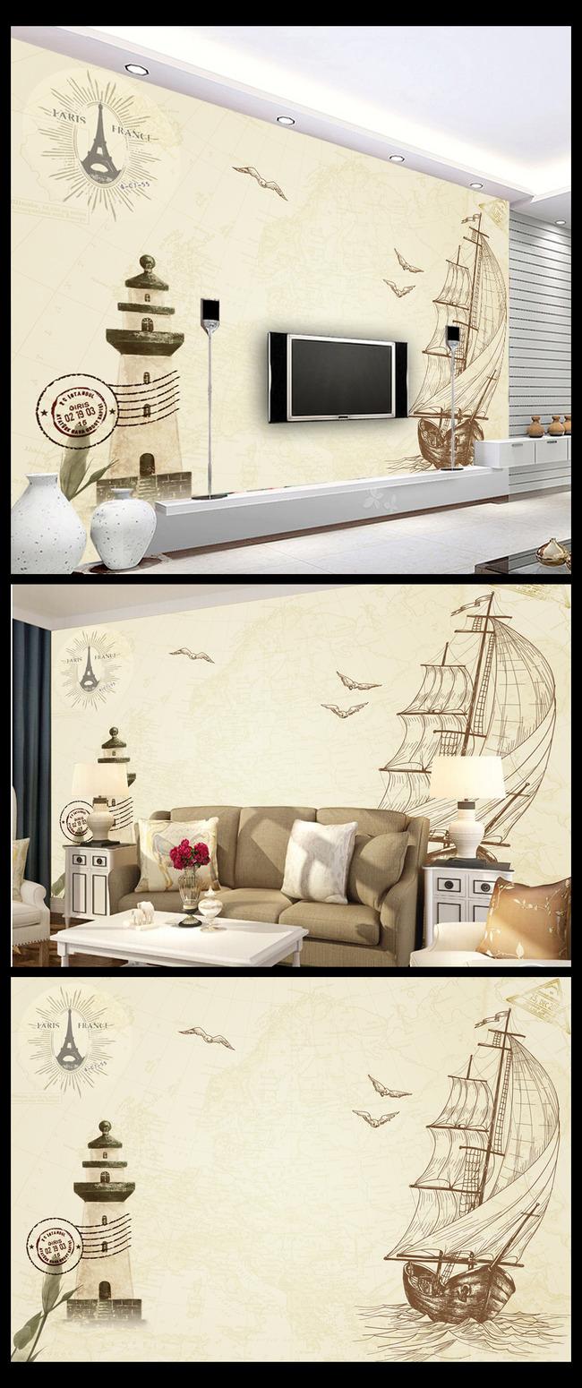 复古怀旧帆船灯塔装饰画