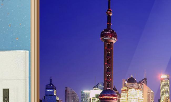 高清psd分层3d东方明珠上海外滩夜景