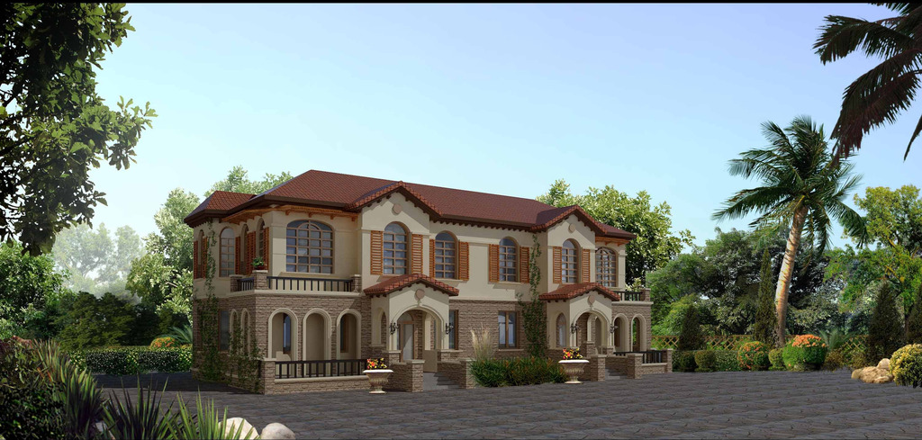 3d欧式别墅外立面效果图模型图片