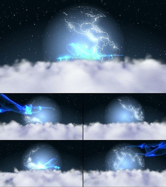 高清星球转动飞机视频素材魔术表演背景