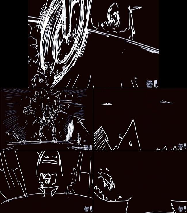 线条手绘背景 动画线条白色故事舞台背景