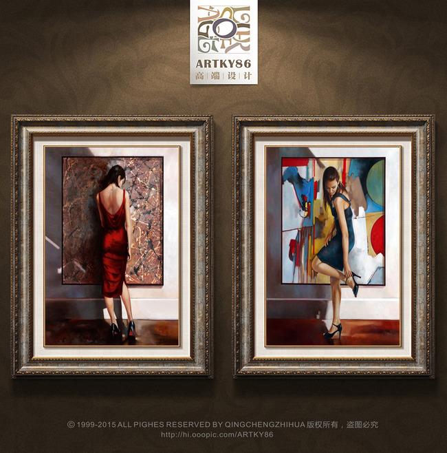 画中画漏背性感美女红色长裙高跟鞋装饰画高清