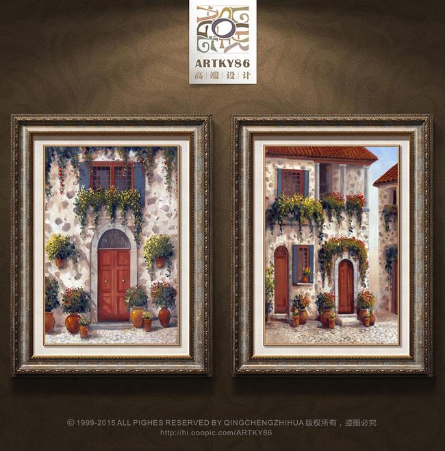 欧式房屋建筑藤蔓植物花卉油画装饰画