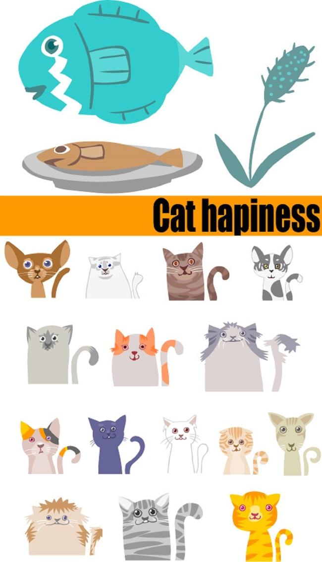 卡通小猫和鱼手绘图标矢量素材