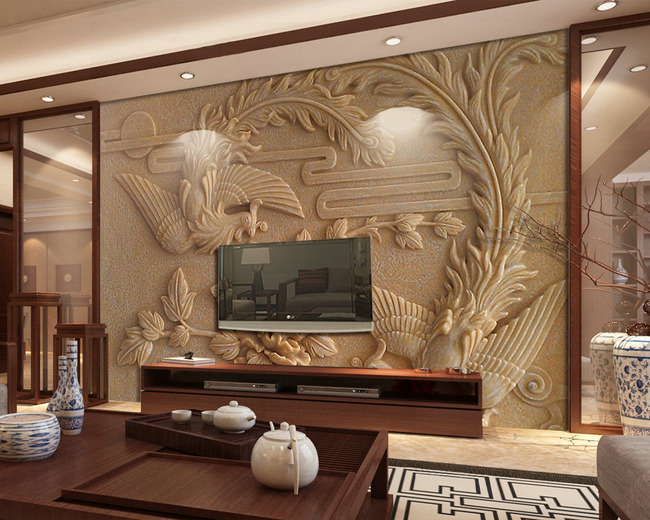 凤凰浮雕砂岩电视背景墙纸壁画