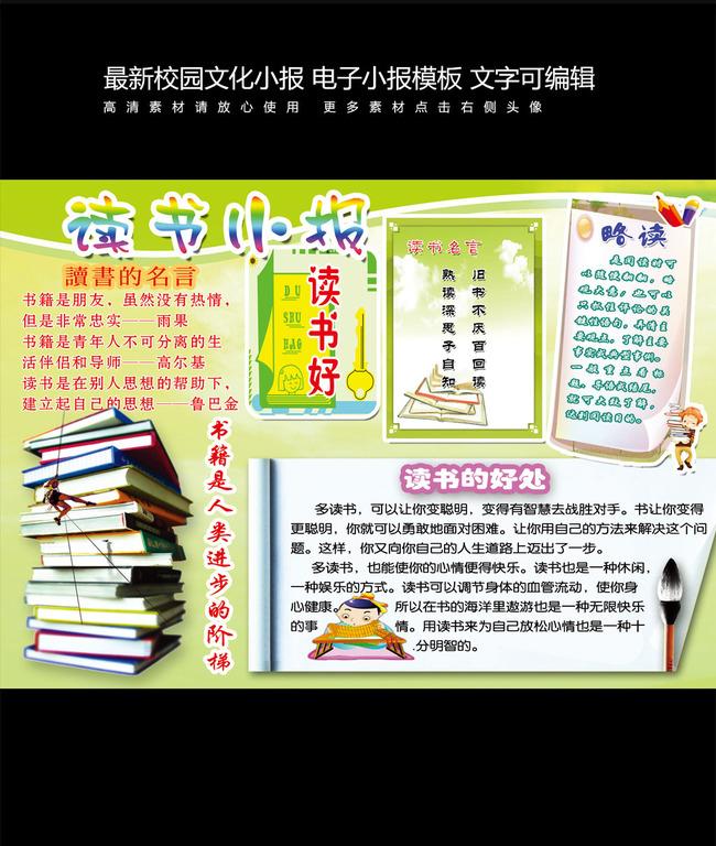 读书小报电子小报校园简报模板