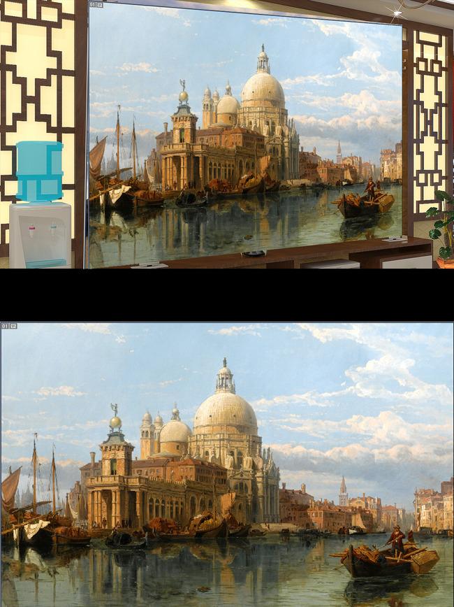 欧洲湖水城堡建筑风景画电视背景墙