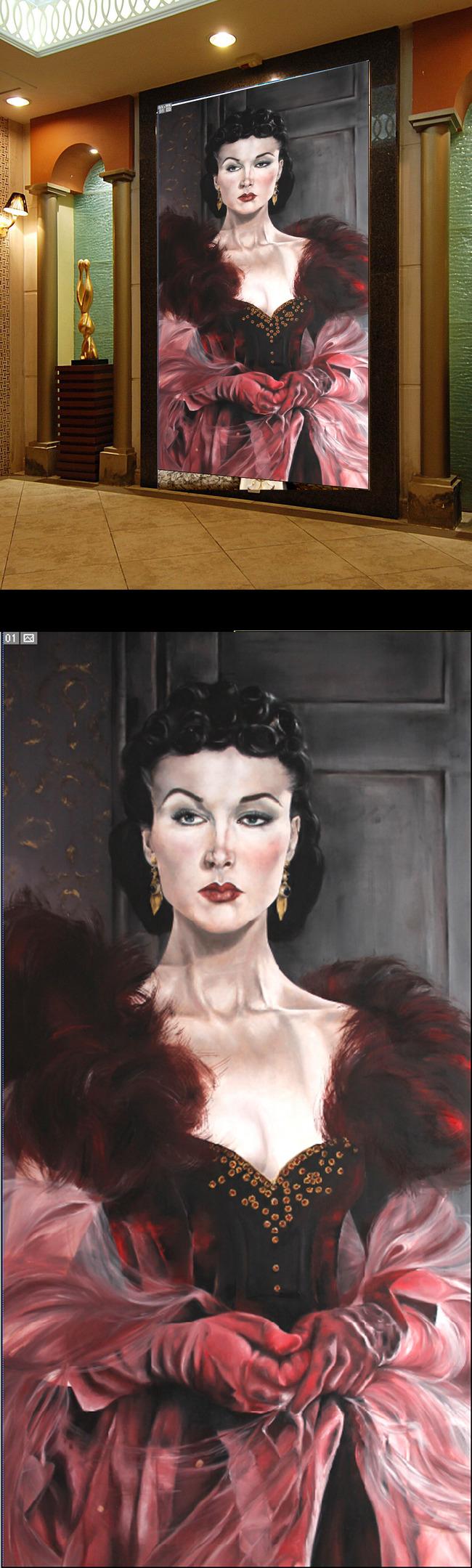 欧洲贵妇人物肖像玄关背景墙