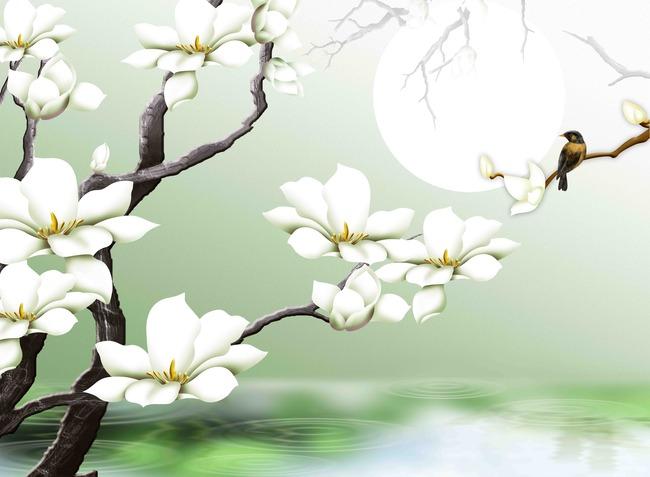 原创手绘浮雕超写实玉兰花鸟背景墙图片下载 彩雕 玉兰 玉兰花 玉兰树