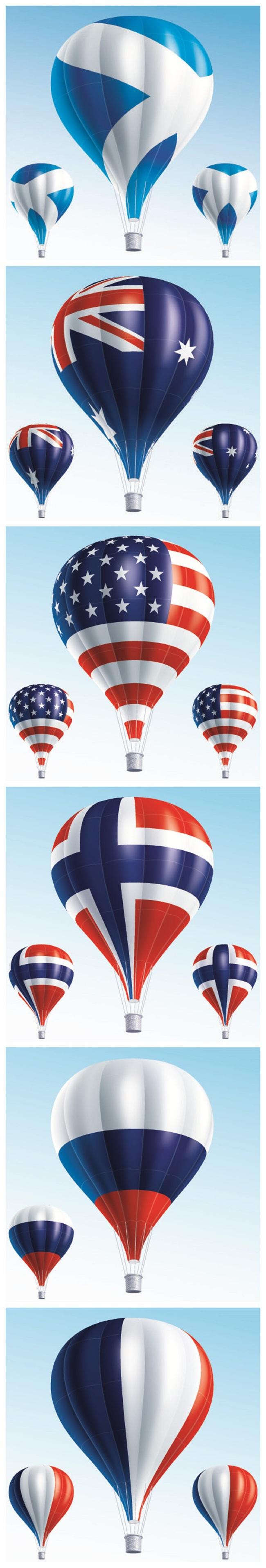 时尚潮流创意国旗热气球设计图标矢量素材