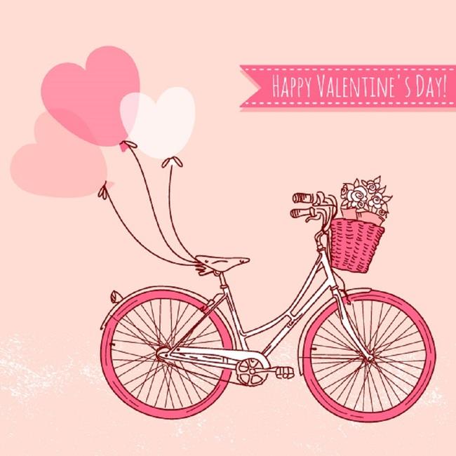 情人节唯美浪漫自行车单车手绘插画矢量素材