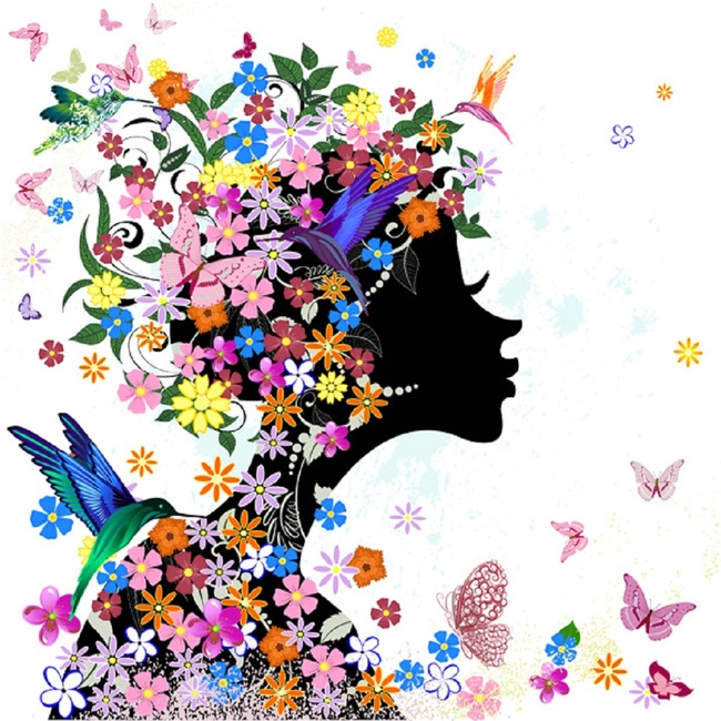 绚丽色彩时尚潮流花仙子美女剪影矢量素材模板