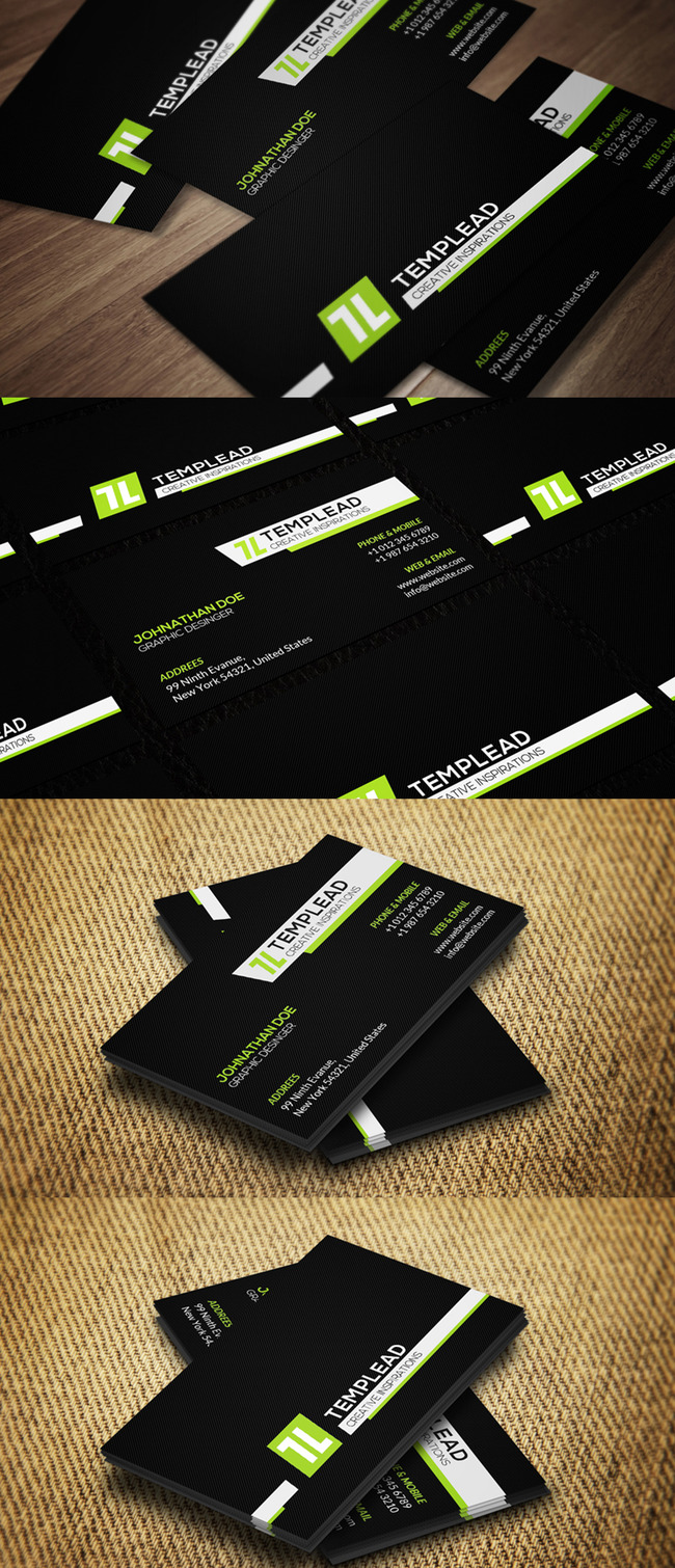 简约绿黑欧式风格商务名片模板