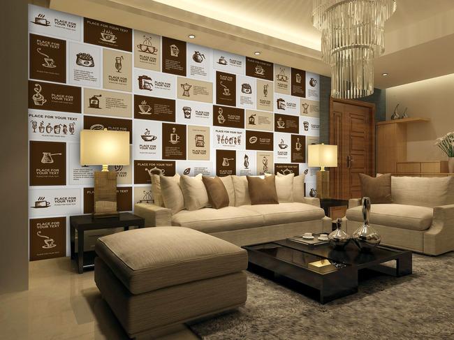 北欧风情客厅沙发背景墙艺术软包