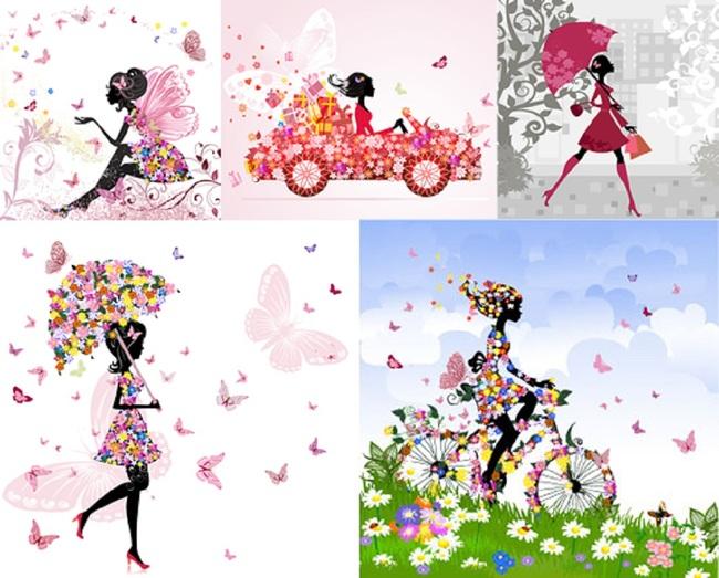 时尚潮流炫彩花卉美女图标矢量素材模板下载
