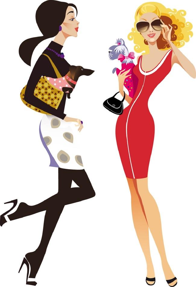 时尚潮流美女性插画图标矢量素材模板下载图