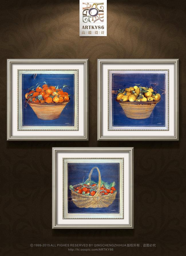 欧式复古蓝底水果金桔橘子草莓油画装饰画