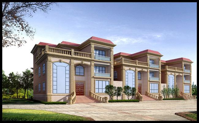 3d欧式建筑模型外立面建筑效果图模型图片