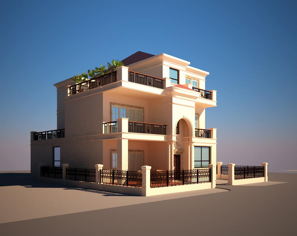 3d欧式别墅外观效果图模型外建筑
