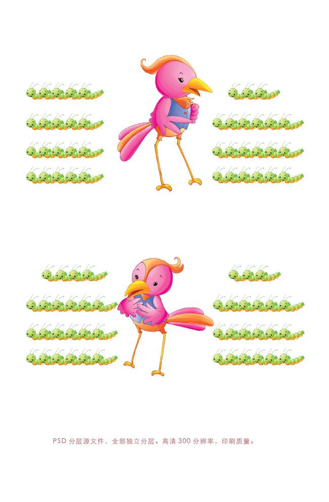 手绘彩色鸟素材