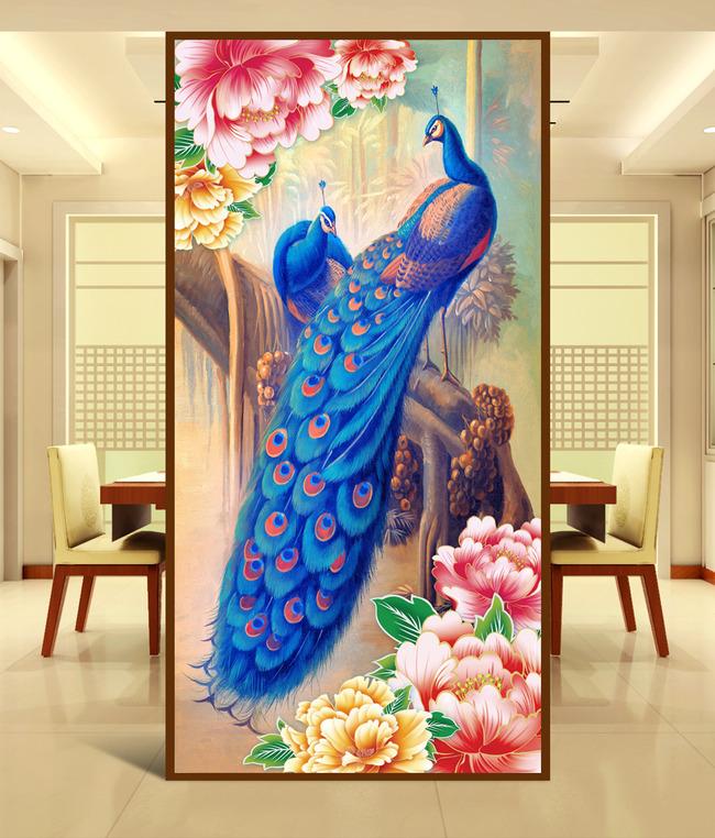 高清孔雀手绘花朵玄关壁画背景墙
