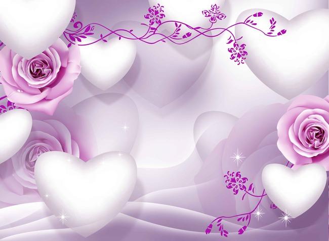 手绘高清3d立体心形玫瑰背景墙