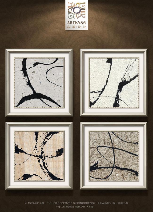 欧美复古花纹黑色线条抽象油画装饰画图片