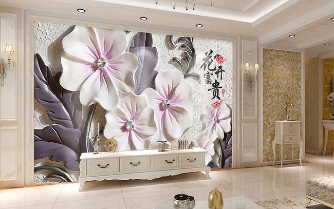 浮雕花卉3d电视背景墙大型壁画
