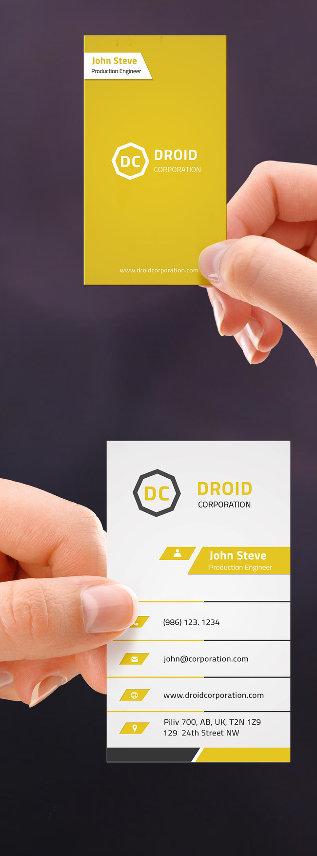 竖版黄色创意商务名片模板