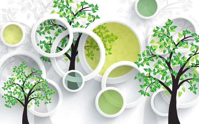 手绘绿色树时尚3d现代简约背景墙