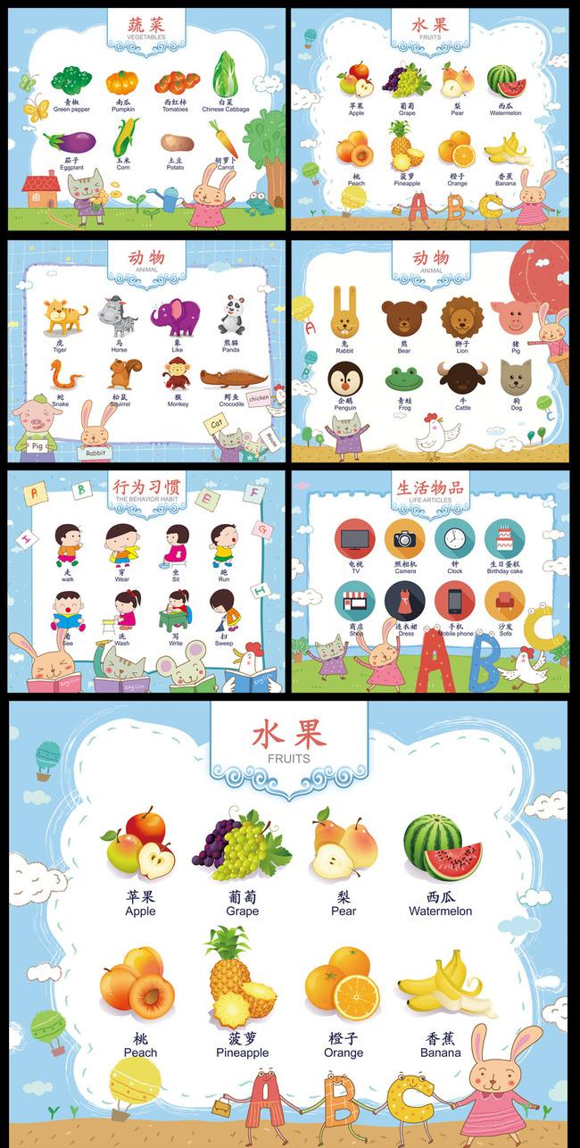 英语角 学英语 水果英语 动物英语 行为习惯 蔬菜英语 幼儿园展板 幼