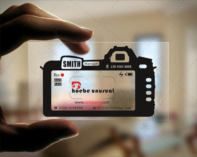 pvc材质商务相机透明名片模板