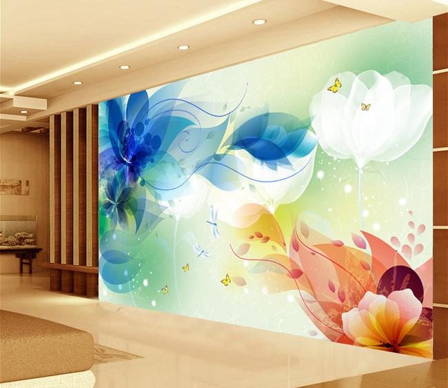 手绘花朵3d壁画电视背景墙装饰画