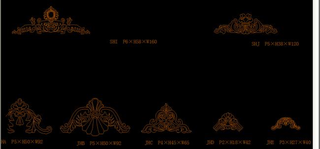 欧式花纹cad立水花模板下载(图片编号:13179722)_cad