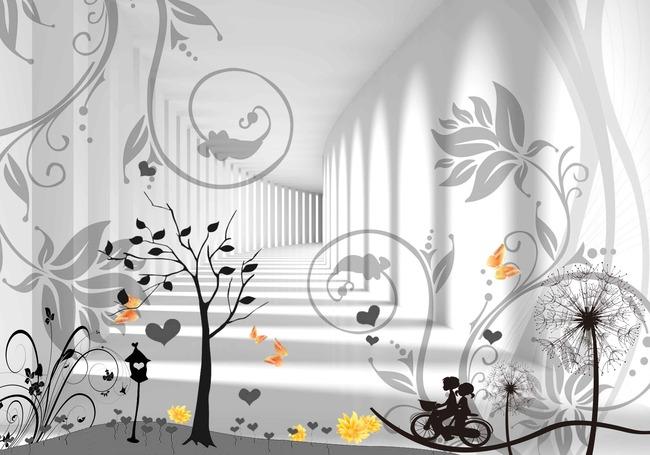 浪漫活跃简洁青春时尚背景墙图片下载 3d设计唯美浪漫 电视背景墙模板