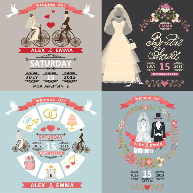 西式创意婚礼海报封面设计模板下载(图片编号:)