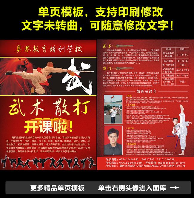 武术培训招生宣传单dm图片模板下载(图片编号:)