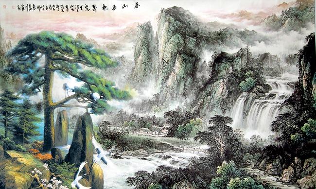 山水 中式 装饰画 中国风 中堂画 国画 古典 松鹤延年 仙鹤 山水画图片