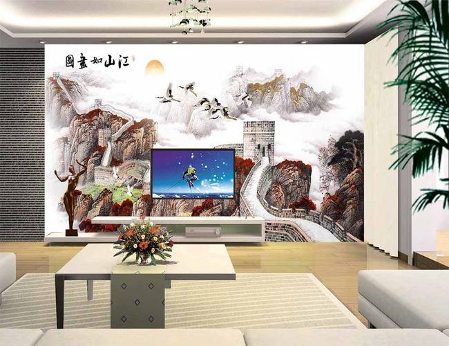 江山如国画长城仙鹤中式电视背景墙高清图片下载(图片