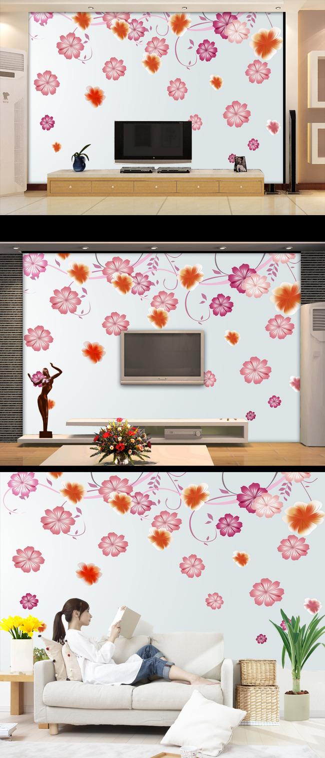 高清手绘梦幻桃花背景墙