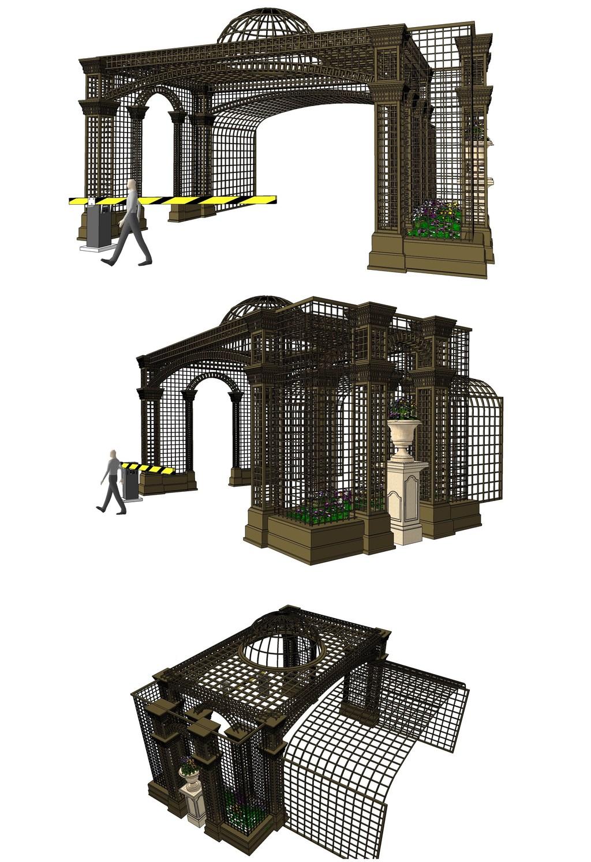 欧式铁艺花架廊架su模型