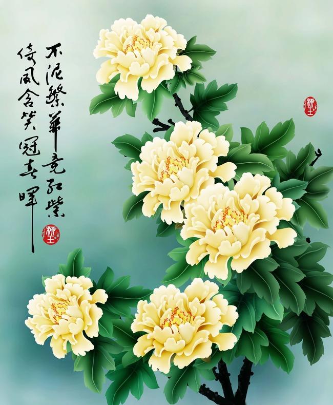 瓷砖背景墙 手绘 牡丹